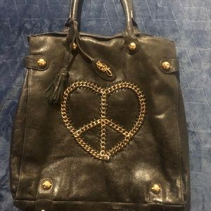 Betsey Johnson Peace-Heart Black Leather Tote